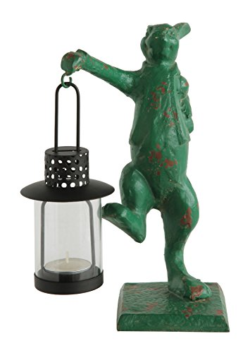 Creative Co-op Distressed Green Cast Iron Rabbit with Tealight Lantern ()