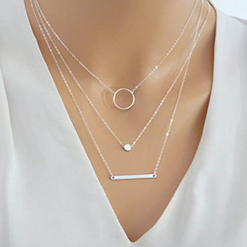 Jovono Boho Miltilayered Necklaces Circle Chains Bar Pendant Necklace Jewelry for Women and Girls (Silver)