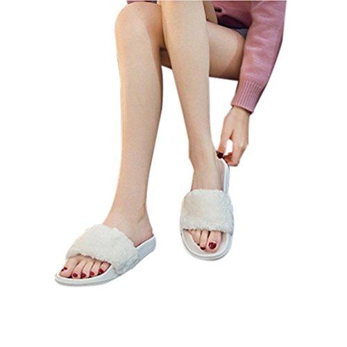 Sandal Flat Flop On White hunpta Fur Slipper Sliders Faux Ladies Fluffy Slip Womens Flip wRqx471f