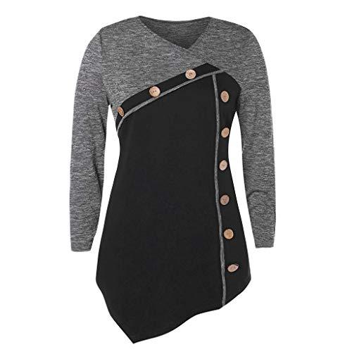 - Caopixx Womens T-Shirt Long Sleeve Patchwork Button Tie Pullover Ladies Casual Tops Sweatshirt Blouse