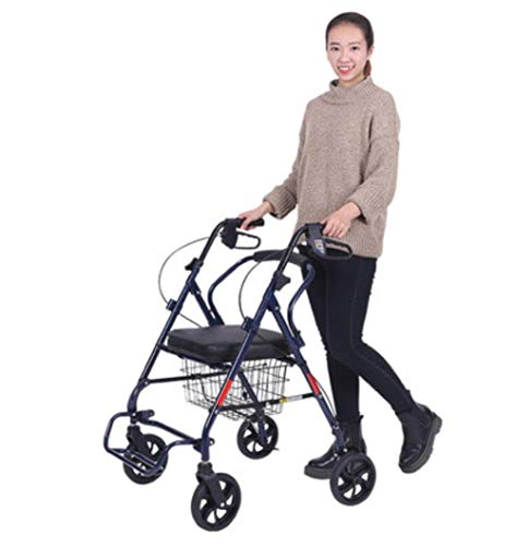 (J.GH Lightweight Folding 4 Wheel Shopping Trolley with Padded Seat,Elderly Rollator Walker, Lockable Brakes and Carry Basket)