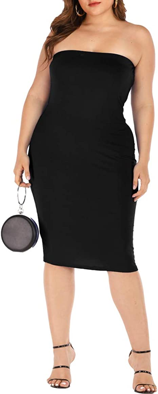 Women\'s Bodycon Strapless Dress Plus Sizes Sleeveless Midi Tube Top Dresses