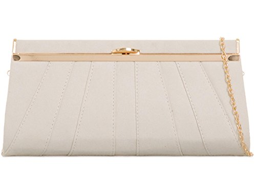 ZES Suede Bridal Wedding Ladies Party Prom Evening Clutch Hand Bag Purse Ivory