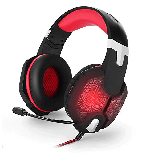 (HSKK 3.5mm Gaming Headset, Stereo, subwoofer, Remote Control, Noise Reduction, for PC/MAC/Xbox PS4-red)