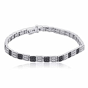 Sterling Silver Black and White Diamond bracelet (3/4 CTTW)