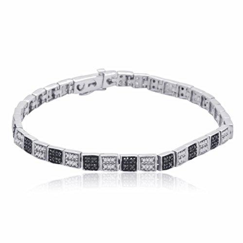 Sterling Silver Black and White Diamond bracelet (3/4 CTTW)
