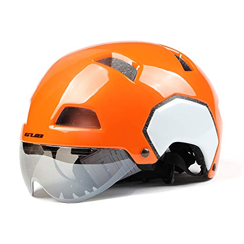Gub 2018 V3 Cycling Road City Bike Urban Bicycle Helmet with Magnetic Lens BMX Fixed Safe Cap Men Women Skating Skate Helmets L(Orange)