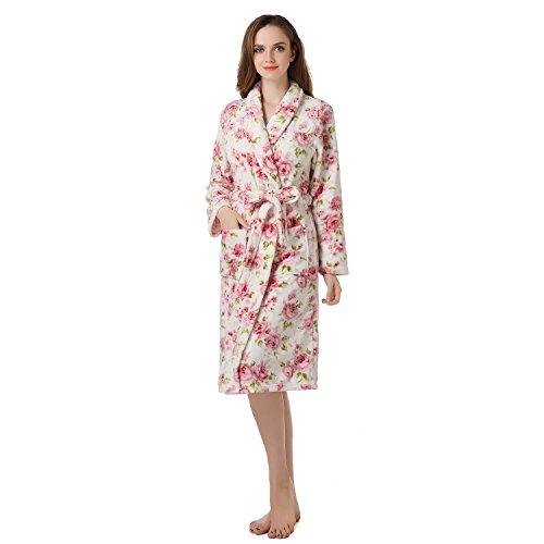 (Richie House Women's Warm Fleece Bathrobe Robe, White & Flower RHW2493-A-L-FBA)