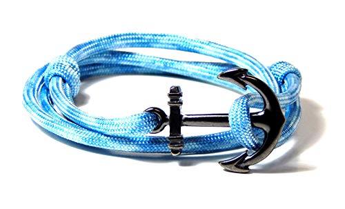 Blue Sky Anchor Bracelet Nautical Gunmetal Tone Anchor Men Women's Adjustable