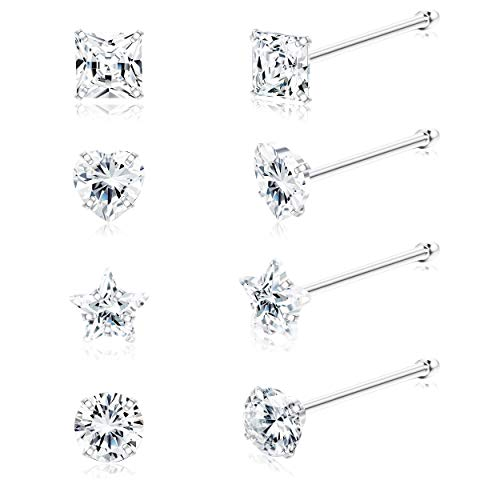 Sllaiss 8Pcs 22G Sterling Silver Nose Rings Studs 3mm Assorted Shapes CZ Inlaid Nose Body Piercing Jewelry Hypoallergenic