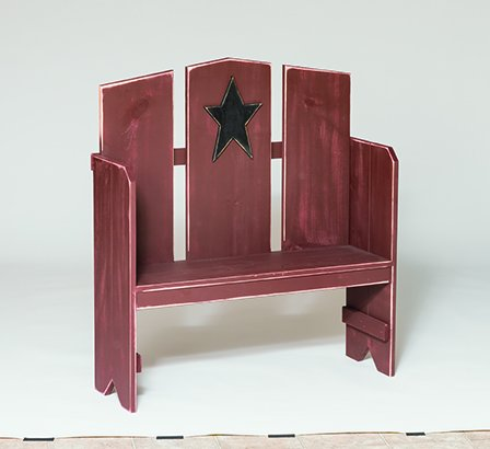 (Primitive Rustic Country Style Porch Bench-Antique White)