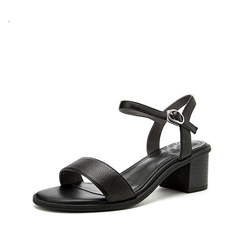 alla Sandali da piatti donna Nero Pantofole basso alti Sandali DHG estivi con moda basso 36 Sandali tacco a casual tacco Tacchi wt8qvXF