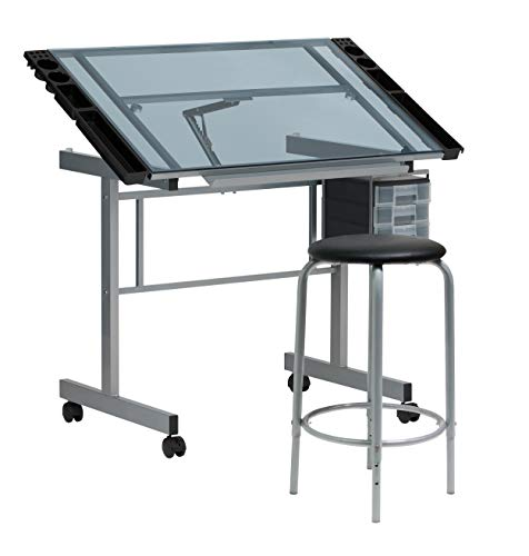 SD Studio Designs Studio Designs 2 Piece Vision Modern Metal Hobby, Craft, Drawing, Drafting Table, Mobile Desk with 40.75