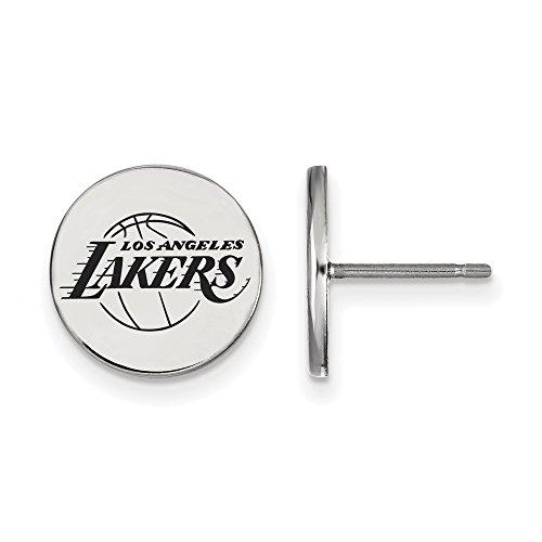 NBA Los Angeles Lakers Small Enamel Disc Earrings in Sterling Silver by LogoArt