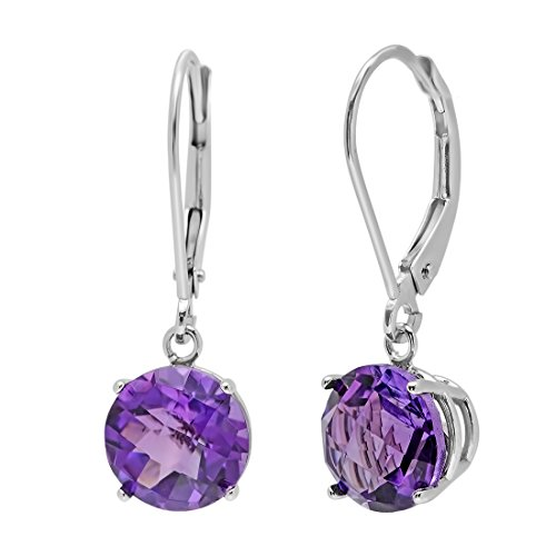 10K White Gold Checkerboard Amethyst Lever Back Earrings