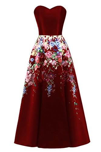 Lily Wedding Womens Satin Floral Print Prom Dresses 2018 Long Aline Formal Party Gown Size 14 Burgundy