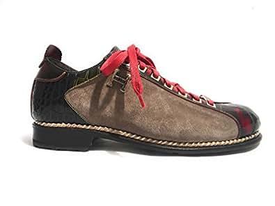 Harris Zapatos de Cordones de Piel Para Hombre Multicolor Taupe Red Green Multicolor Size: 11 UK- 45 IT fLyfZ05
