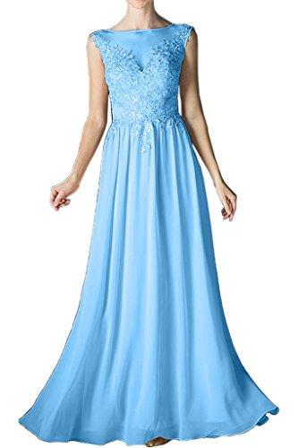 Prom damigella pizzo da Chiffon ivyd lungo Blau popolare d' linea sera onore da di ressing abito abito vestito Dress rotondo collo a Damen Y7aYR