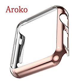 Apple Watch Case,Aroko Super Thin PC Plated Plating Protective Bumper Case for Apple Watch 42MM (PC Case RoseGold 42mm)