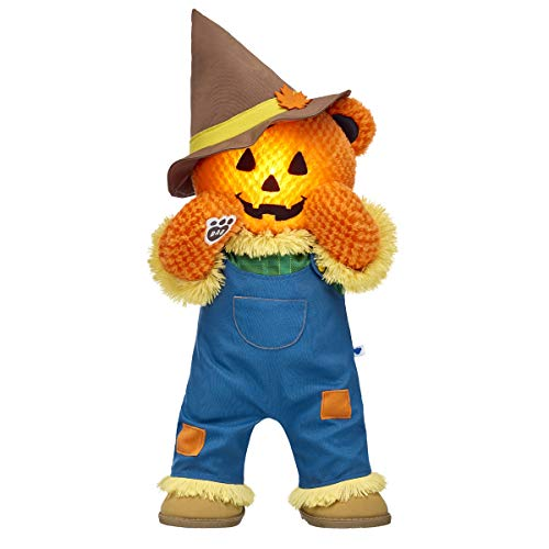 Build A Bear Workshop Light-Up Pumpkin Glow Bear Scarecrow Gift Set, 16 inches ()
