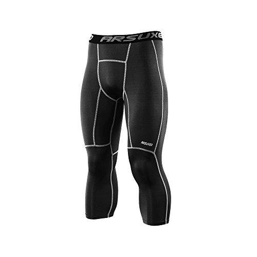 Athletic Running Tights (ARSUXEO Men's 3/4 Running Compression Tights Capri Pants K75 Black Size Medium)