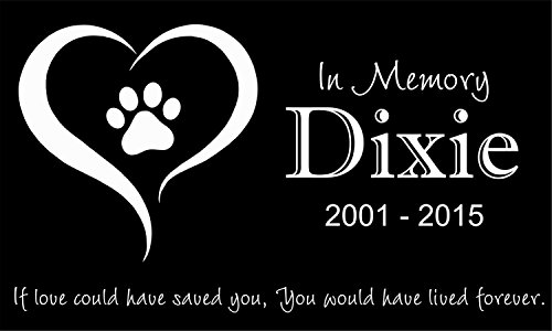 Personalized Pet Stone Memorial Marker Granite Marker Dog Cat Horse Bird Human 6'' X 10'' Personalised Dalmatian Doberman Pinscher by Pet Stones USA (Image #2)