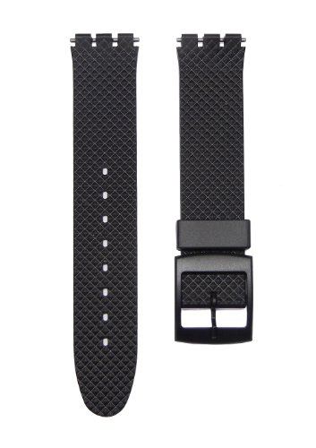 17mm TIMEWHEEL Black Diamond Knurled Style Replacement Watch Band for Standard Gents Swatch Watch
