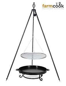 Trípode Barbacoa Oskar Altura 210cm + Parrilla de acero inoxidable diámetro 60cm + Brasero PAN32Diámetro 70cm