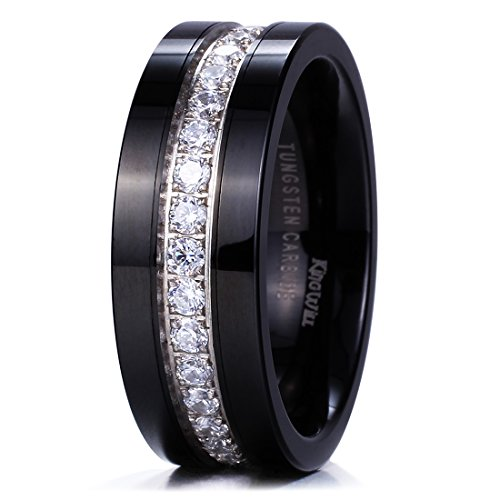 - King Will GEM Mens 8mm Black Polished Finish Tungsten Carbide Ring Cubic Zircon Stones Flat Style Wedding Band(10.5)