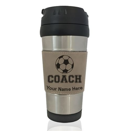 Travel Mug - Soccer Coach - Personalized Engraving Included (Light Brown)