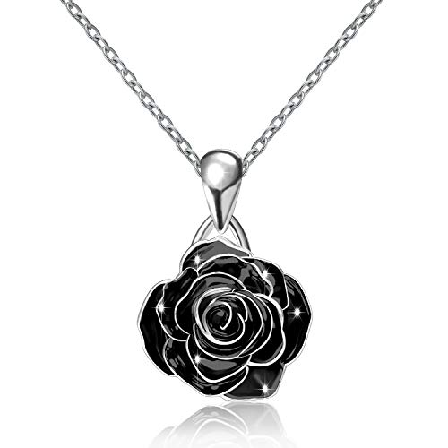 Silver Loves Rose Pendant Necklace Jewelry Girts Girls Women (Black) ()