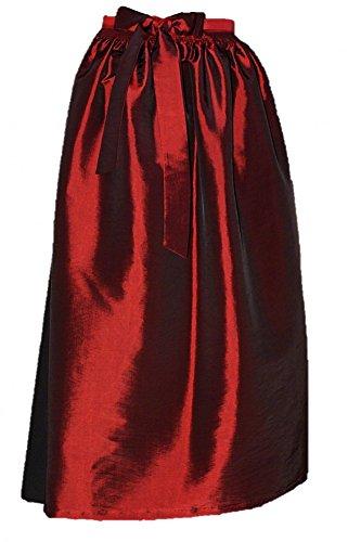 Gr.34-50 S M L XL Dirndl Schürze Dirndlschürze Trachten Mode grün pink rot rosa, Größe:XL = 46 48 50;Farbe:dunkelrot