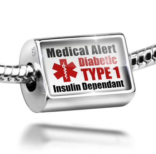 Sterling Silver Charm Medical Alert Red Diabetic Insulin Dependant TYPE 1 - Bea