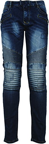 Angel Cola Men's Biker Slim Distressed Washed Cotton Cargo Jeans Denim (Angels Stretch Denim)