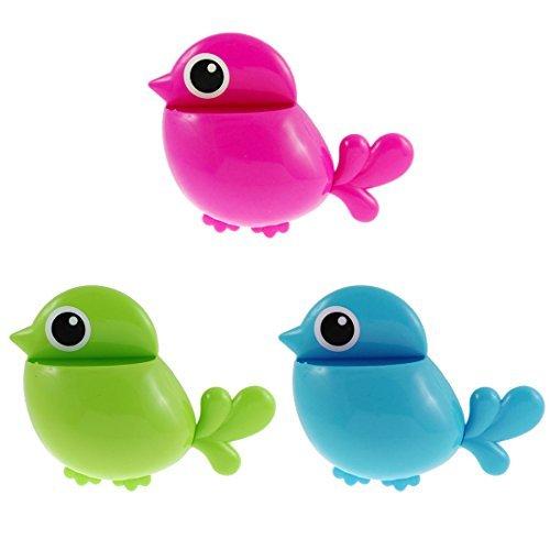 (eDealMax plástico del diseño del pájaro Inicio Pasta de dientes cepillo de dientes Titular 3pcs Tricolor)