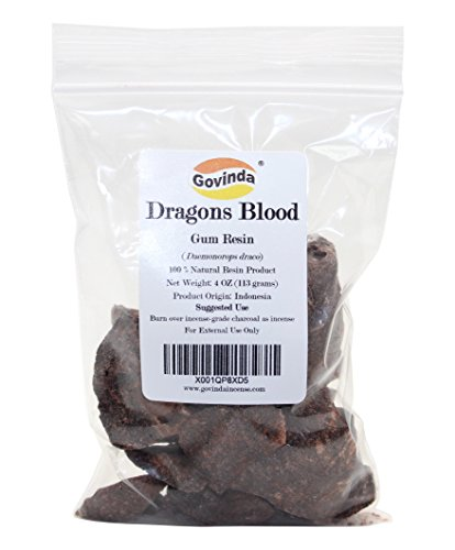 Govinda - Dragon's Blood Natural Resin Gum Incense - 4 Ounce - Daemonorops draco from Indonesia
