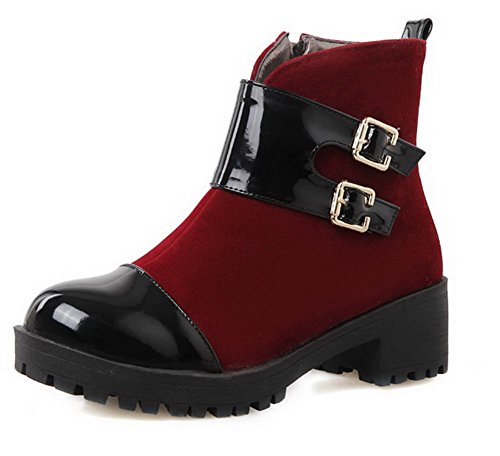 Allhqfashion Women's Low-Top Assorted Color Zipper Round Closed Toe Kitten-Heels Boots Claret K1092zCP