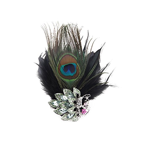 Song Qing Fascinator Crystal Peacock Feather Hair Clip Pin Brooch Corsage Bridal Hairband Party Wedding (Green Hat Pin)