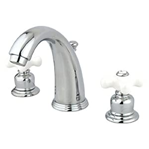 Kingston brass kb981px victorian widespread lavatory faucet porcelain cross handle polished for Victorian widespread bathroom faucet cross handles