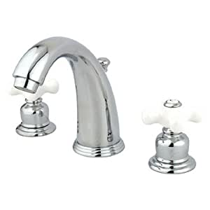 Kingston Brass Kb981px Victorian Widespread Lavatory Faucet Porcelain Cross Handle Polished