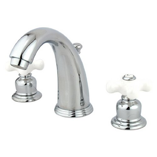 - Kingston Brass KB981PX Victorian Widespread Lavatory Faucet, Porcelain Cross Handle, Polished Chrome