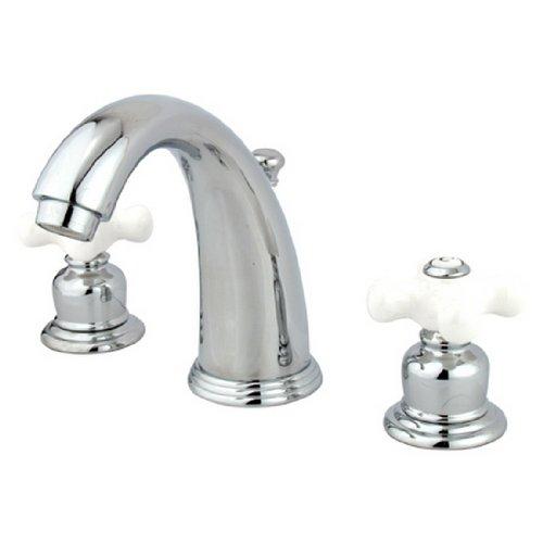 Kingston Brass KB981PX Victorian Widespread Lavatory Faucet, Porcelain Cross Handle, Polished (Chrome Victorian Double Handle)