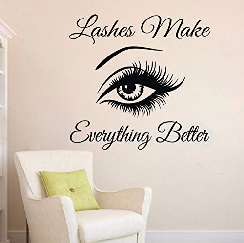Dalxsh Eyelashes Wall Sticker Eyebrows Lashes Vinyl Wall Decal Beauty Salon Wall Decor Eyelash Lash Quote Wall Window Stickers -