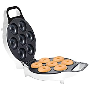 Classic Cuisine 82-KIT1066 Mini Donut Maker-Electric Appliance Machine to Mold Little Doughnuts Using Batter/Mix-Bake Chocolate, Glazed, and More Flavors, Normal, White