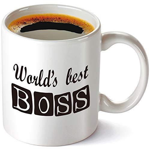 World's Best Boss Mug-11 oz Funny Coffee Mug, The Office Michael Scott Mug, Cool TVProps the Office Mug? Humorous Sarcastic Sayings.