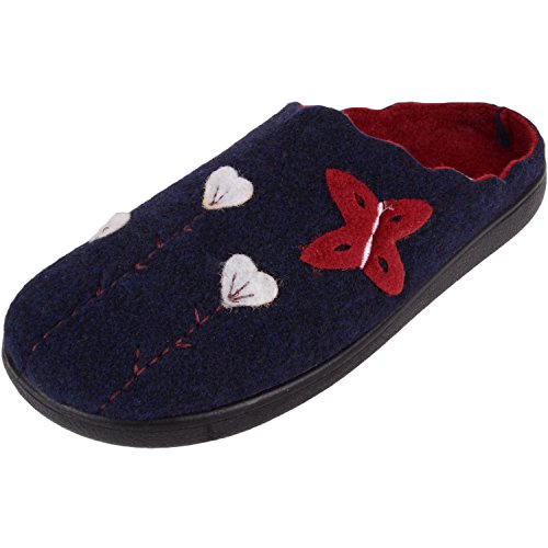 ABSOLUTE FOOTWEAR Womens Soft Felt Slip On Mules/Slippers/Indoor Shoes With Floral Design Navy/Burgundy