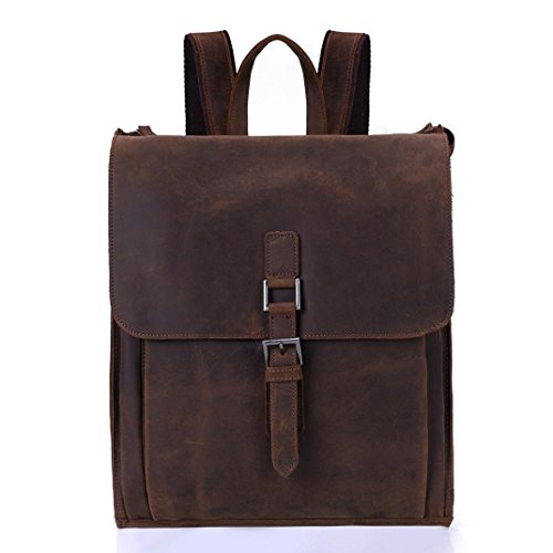 Morrivoe Vintage Genuine Leather Handmade Backpack College Daypack Schoolbag Multipurpose Casual Hiking Travel Backpack