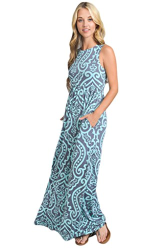 Vanilla Bay Solid Racerback Pocket Maxi Dress (Medium, Mint - Usa Bays