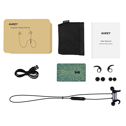 AUKEY Bluetooth Headphones, Magnetic Wireless Earbuds with aptX and Built-In Microphone for iPhones, Samsung Phones and More