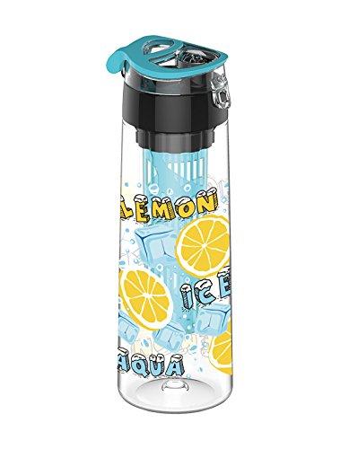 SecretRain 800ml Blue Fruit Infusing Water Bottle with Fruit Infuser and Flip Lid Lemon Juice Make Bottle BPA Free by SecretRain